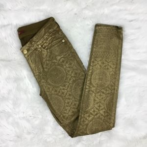 7 FAM Sexy Gold Coated Artisan Stretch Pants 27